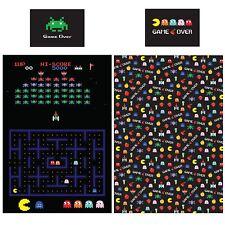 Retro Games Set Housse de Couette Simple Réversible Literie Enfant Noir