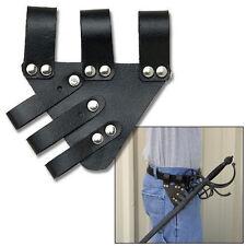 "5.5"" UNIVERSAL SWORD FROG Black Leather Sheath Scabbard Adjustable Baldric Belt"