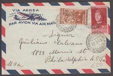 """1953 posta aerea da Benevento per Filadelfia, affrancata per 125 lire - 1572 """"2"""