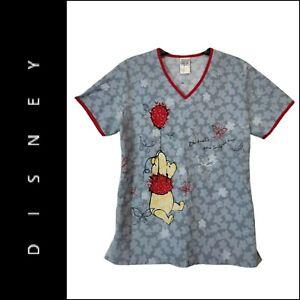 Disney Womens Short Sleeve Winnie The Pooh Scrub Nurse Uniform Size Small Gray