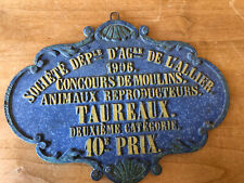 Antique 1906 French Agriculture Award,Heavy Blue&Gold Iron,�Bull Breeders�