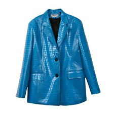 blue pu leather loose fit oversized blazer *select your size*