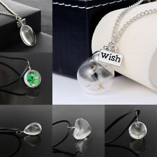 Jewelry Heart Silver Chain Glass Bottle Dandelion Seeds Pendant Necklace Charm