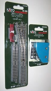 Kato N Gauge Unitrack L/H Electric Point Turnout 20-220 & Control Switch 24-840