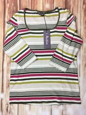 BNWT M&S Portfolio Women's Ladies 3/4 Sleeve Multicolor Striped Top Blouse 14