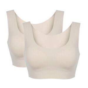 Women's Ice Silk Seamless Bras Wireless Padded Comfort Sports Yoga Vest Tops Bra