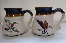 David Maass Porcelain Travel Mugs Cup Canada Goose Duck Mallard Ceramic Set of 2