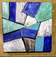 Geometric Textured Acrylic Abstract Painting on Stretched Canvas 20 x 20