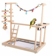 Wood Bird Toy Activity Center Perch Swing Ladder Parrot Play Stand Extra Large