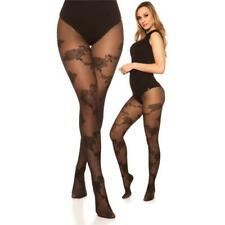 Sexy Ladies Nylon Tights with Floral Pattern Black #AC1060