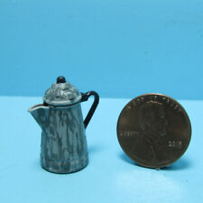 Dollhouse Miniature Grey Enamelware Coffee Kettle Pot with Lid CAR0844