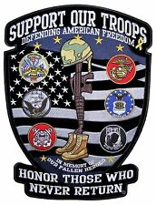 Patriotic Support Our Troops Military Large Embroidered Biker Patch FREE SHIP
