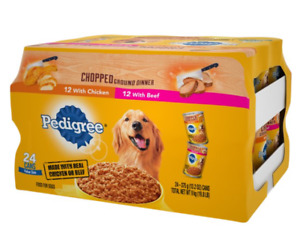 Chopped Ground Dinner Canned Wet Dog Food Variety Pack with Chicken and Beef
