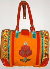 Ladies Handloom Bag with Multicoloured Embroidery and patent leather detail