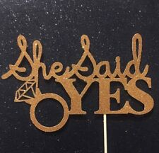 She said yes engagement glitter cake topper Wedding bridal shower hen party