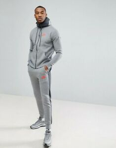 NIKE AIR HOODED FULL TRACKSUIT GREY RED  MENS SIZES