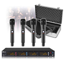 More details for professional wireless microphone system uhf 4x 50 channels 4x handheld mics