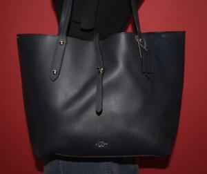 COACH MARKET Navy Blue Leather LRG Tote Carryall Shopper Shoulder Bag 58849