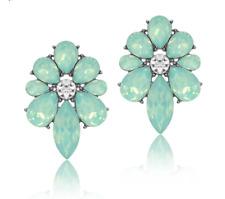 """Vintage Style MINT GREEN Crystal Flower Shape Fashion Earrings Stud 1"""" BNEW"""