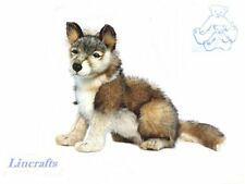 Sitting Wolf Plush Soft Toy by Hansa. Sold by Lincrafts. 4291