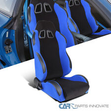 T-R Type JDM Black Blue Reclinable Passenger Side Racing Bucket Seat w/ Slider