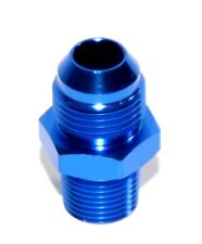 """BLUE 8AN AN-8 to 3/8"""" NPT Male Thread Straight Aluminum Fitting Adapter"""