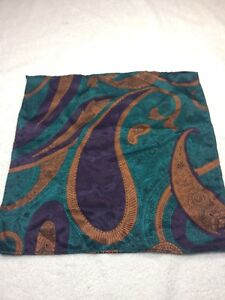 """MENS POCKET SQUARE 100% POLYESTER 10"""" X 10"""" PURPLE, COPPER AND GREEN"""