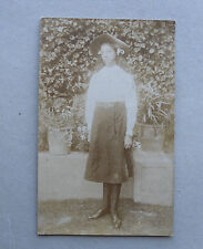 c1910 B/W Photograph. Adolescent Girl in Interesting Clothes. Club/ Association?