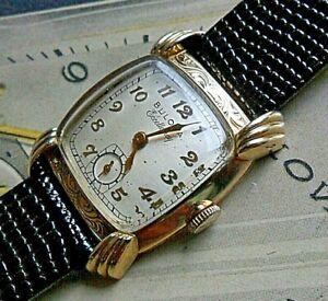 V Clean Vintage 1951 Men's Bulova His Excellency QQ 10k G/F Fancy Watch Runs