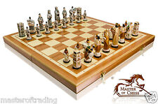 "EXCLUSIVE ""ENGLAND"" MARBLE CHESS SET 60cm x 60cm - BEAUTIFUL HAND PAINTED PIECES"