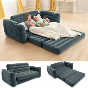 New Gray Sofa Bed Sleeper Queen Size Inflatable Air Folding Futon Convertible Co