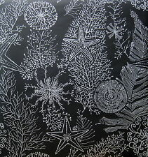 ASHFORD HOUSE SILVER on BLACK STARFISH SEASHELL wallpaper DOUBLE ROLL