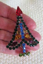 AUSTRIAN CRYSTAL RHINESTONE CHRISTMAS TREE BROOCH PIN SILVER TONE