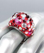 spesso luccicante Rosso fucsia cristalli ovale a cupola ELASTICIZZATO MIX ANELLO