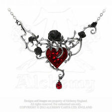ALCHEMY GOTHIC - BED OF BLOOD ROSES NECKLACE - GOTH - LOVE - HEART - BLOOD -SANG