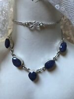 1980s Silver Necklace Agate Blue Moss 925 Scottish Vintage Retro Hook Clasp Old