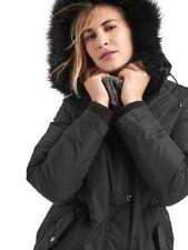 Gap Women's  True Black Hooded Down Parka Coat Jacket SIZE MT  M T  #460710