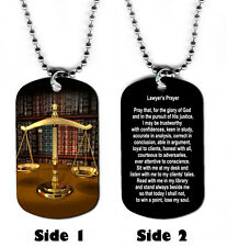 DOG TAG NECKLACE - Lawyer's Prayer 1 Attorney Law Legal God Jesus Justice Lawyer
