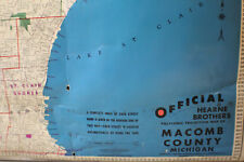 Vintage 1960's Hearne Brothers Polyconic Projection School Map Macomb Michigan