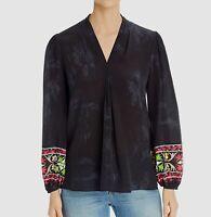 $745 Kobi Halperin Women's Black Gray Long-Sleeve V-Neck Silk Blouse Top Size XL