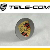 NEU+ORIG. Porsche Radzierdeckel konkav PLATINUM Wappen farbig / Hub cap concave