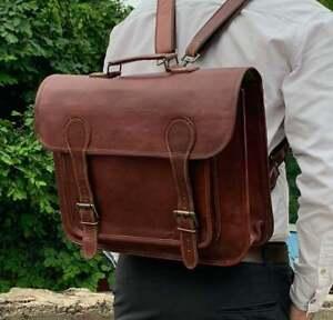 Rustic Genuine Handmade Vintage Leather Laptop Messenger Briefcase Bag Satchel