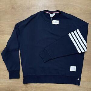 NEW! £600 THOM BROWNE Navy White Classic Crew Oversized Sweatshirt 4 Bar Size XL