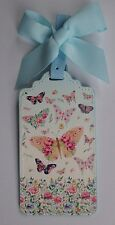 g Colorful Butterfly flutter Vegan Leather Luggage Tag Bag ID suitcase NEW bow