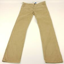 Adidas Mens Corduroy Jeans Trousers W37 L35 Beige Slim Fit Straight High Rise