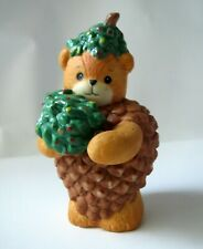 Cute Lucy & Me Bear Christmas Pinecone Holding Tree Lucy Rigg 1991 - Enesco