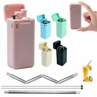 Reusable Metal Folding Collapsible Drinking Straw Portable + Cleaning Brush Set