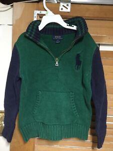Polo RALPH LAUREN Boys Sweater Kids Size 7 Green