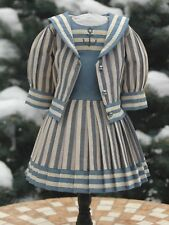 Chic two-piece suit in a marine style for French or German antique dolls