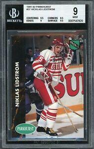 1991-92 Parkhurst Rookie #37 Nicklas Lidstrom Red Wings RC HOF BGS 9 Mint